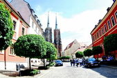 Street on the island Tumski in the Polish city Wroclaw — Stock Photo