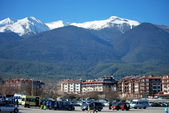 Mountain View from the bottom and from the mountain Todorka on Bansko ski resort in Bulgaria — Stock Photo