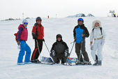 Group of young people on the mountain top Todorka Bansko ski resort in Bulgaria — Stock Photo