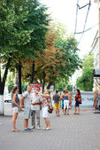 A group of people on a tour of the city of Voronezh — Foto Stock
