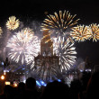 Firework near the main building of Moscow State University — Stock Photo #51578963