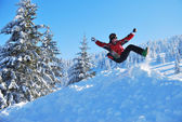 Fun during the winter holidays in the mountains — Stock Photo