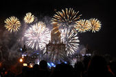 Firework near the main building of Moscow State University — ストック写真