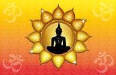 Buddha-statue mit om-symbol — Stockfoto