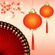 Royalty-Free Stock Photo: Chinese lanterns with fan