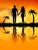 Two lovers at sunset — Stock Photo