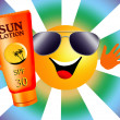Sun with sun lotion — Stock Photo