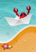 Krab op het strand — Stockfoto