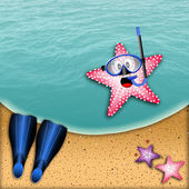 Starfish with snorkel mask — Stock Photo