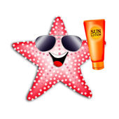 Starfish with solar lotion — Stock Photo