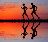 Running People At Sunset — Zdjęcie stockowe