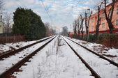 Kolej w zimie — Zdjęcie stockowe