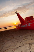Rescue boat on the beach — Stock Photo