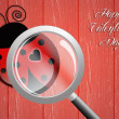Ladybug with magnifying glass for Valentine's Day — Stock Photo #38905597
