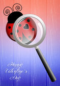 Ladybug with magnifying glass for Valentine's Day — Zdjęcie stockowe