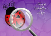 Ladybug with magnifying glass for Valentine's Day — Stock Photo