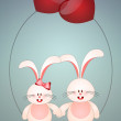 Two bunnies in love — Stock Photo