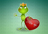Frog With Heart for Valentine's Day — Stock Photo