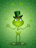 Frog with clovers for St. Patrick's Day — Stock Photo