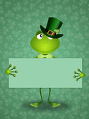 Green frog in St.Patrick's Day — Stock Photo