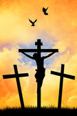 Crucifixion at sunset — Stock Photo