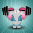 Stock Photo: Elephant weightlifting in gym