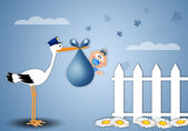 Stork delivering baby boy at home — Stock Photo