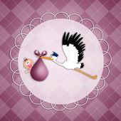 Stork with baby girl postcard — Stock Photo