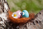Couple of eggs in the nest for Easter — Foto de Stock