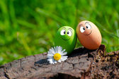 A Couple Of Funny Eggs For Happy Easter — Stock Photo