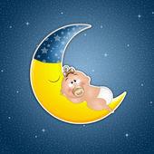 Sleeping Baby On The Moon — Stockfoto