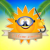Sun with diving mask for summer — Stock Photo
