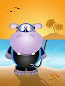 Hippo with diving mask — Foto de Stock
