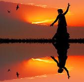 Woman dancing indian dance — Stock fotografie