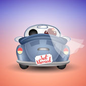 Just married couple in car — Stock Photo