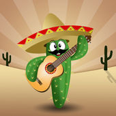 Cactus with sombrero and guitar — ストック写真