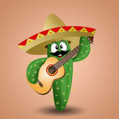 Cactus with sombrero and guitar — Foto Stock