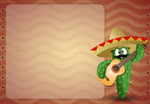 Cactus with sombrero and guitar — Stock fotografie