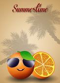 Funny orange with sunglasses — Stock fotografie