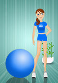 Woman doing fitness with ball — ストック写真