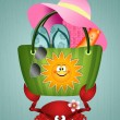 Funny crab carrying a beach bag — Stock Photo #49917305
