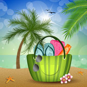 Beach bag for summer vacation — Stock Photo