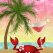 Funny crab with cocktail on the beach — Stock Photo #50299237