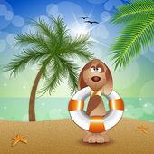 Ratunek pies na plaży — Zdjęcie stockowe