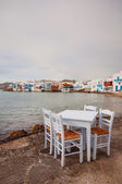 Table by the sea in Mykonos beach — Stock Photo