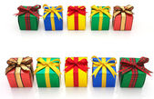 Colorful gifts laid out in double line. — Stockfoto