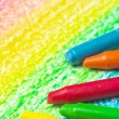 Five crayons and drawing of the rainbow. — ストック写真