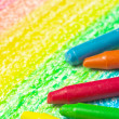 Five crayons and drawing of the rainbow. — Zdjęcie stockowe