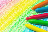 Five crayons and drawing of the rainbow. — Stock Photo