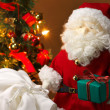 Cute stuffed toy Santa Claus giving a Christmas present. — Stock Photo